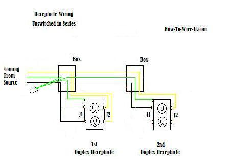 unswitched series outlet diagram wire an outlet Half Switched Outlet Wiring Diagram at soozxer.org