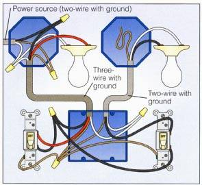 Wiring a 2-Way Switch on 2 lights one switch diagram, 4 wire switch wiring diagram, three switches one light diagram, 2 wire pull, 2 battery switch wiring diagram, switch connection diagram, 3 wire switch wiring diagram, 2 switches 1 light diagram, 2-way light switch diagram, 5 wire switch wiring diagram, two-way switch diagram,
